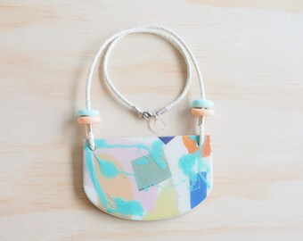 Resin Necklace | Wearable Art | Handmade | Pastel Collage