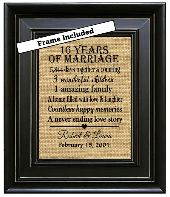What Is The 16th Wedding Anniversary Gift: FRAMED Custom 16th Anniversary 16th Wedding Anniversary Gift
