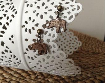 Detailed Copper Tiny Elelephant Brass Post Earrings. Lucky.