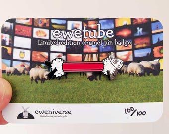 Sheep pin badge, EweTube, sheep badge, enamel pin, gift for her, Fun gift, lapel pin, hat pin, funny badge, cute badge, sheep gifts, pun
