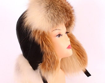 Men's hat earflaps of red fox model Malachai