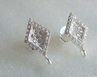 2 pcs, 13x7mm, 925 Sterling Silver Diamond White CZ Marquise Ear Post, Ear Nuts included, Open Loop - EP-0059