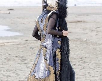 ROCKSTAR Black and Gold Reversible Sequins Fur Coat | Burning Man | Playa Jacket | Festival Wear | Faux fur coat for men | Boho Coats
