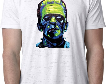 Men's Frankenstein Face Burnout Tee T-Shirt 20719NBT2-NL6110