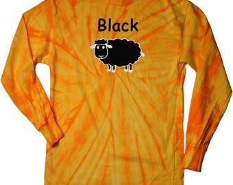 Black Sheep of the Family Adult Long Sleeve Tie Dye Tee T-Shirt BLACKSHEEP-2000