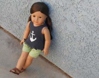 Navy Blue Tank Top With Anchor Design & Fringed Edge for American Girl Doll