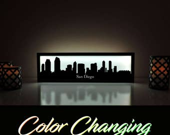 San Diego Skyline, San Diego Lightbox, San Diego Skyline Light Up Picture, San Diego Skyline Picture, Nightlight, LED Lamp, Home Decor