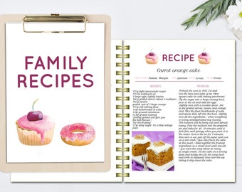Recipe template, editable cook book, DOC template, printable ...