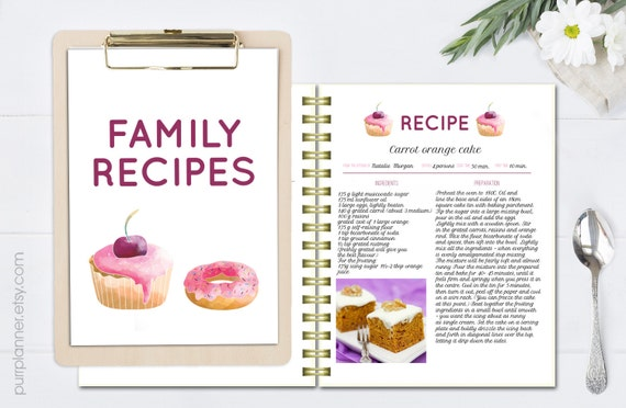 Printable Recipe Book, Recipe Template, Editable Recipe Pages