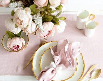Blush Pink napkins set made of Natural Linen perfect for dinning table
