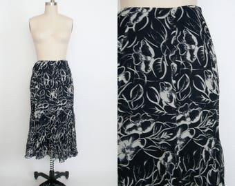 Vintage 1990s Ralph Lauren High Waist Silk Skirt - Sheer Black - Ruffle Long Skirt - Calf Length - Black and Grey Floral - Women's Small