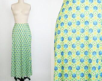Vintage 1990s High Waist Green Skirt - Long Skirt - Calf Length - Daisy Lemon Ball Print - Computer Art - Emojis - Women's Small