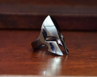 Spartan Ring, Medieval Silver Ring, Helmet Ring, Silver Warrior Ring, Black Rhodium Ring, Gladiator Ring, Mens Black Ring, Mens Silver Ring