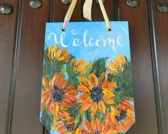 Welcome sign, welcome sign for front door, impasto painting, front door sign,front door decor, front door decoration,flower impasto painting