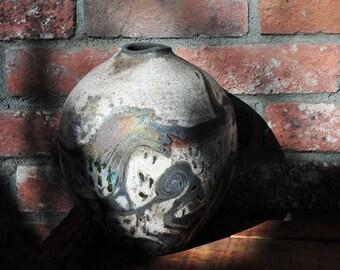 Cave Animals a Raku Pot