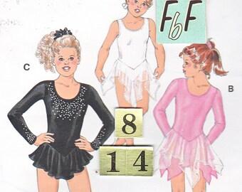 Girls Dance, Skating Leotard Costume Dress Sewing Pattern/ Kwik Sew 2733 knit long sleeve layered ruffled skirt, UnCut/ Size 8 10 12 14