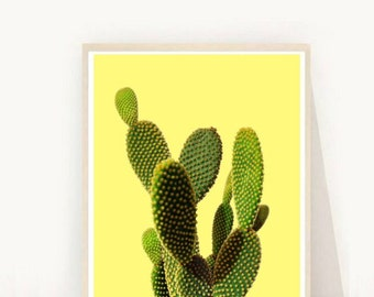 Printable Cactus, Cactus print, Printable Art, Desert Decor, Cactus Photo, Yellow Wall Art, Cactus Wall Art, Wall Decor, digital Download