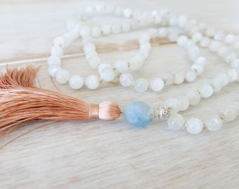 Divine Feminine Moonstone Mala Beads - 108 Beads/Moonstone Mala Necklace/Mala Beads 108/Mala Bead Necklace/Beaded Necklace/Tassel Necklace