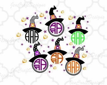 Witch Hat  SVG Halloween Svg Monogram Frame, Halloween Designs, SVG, EPS, Dxf, Png Files, Vector Art, Cricut Design Space, Silhouette