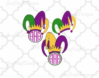 Mardi Gras svg Mardi Gra Jester Crown New Orleans Svg Cuttable Design Frame Monogram SVG EPS Png DXF, Cricut Design Space, Silhouette Studio