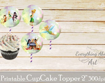 Tinkerbell cupcake toppers, Tinkerbell birthday party, Tinkerbell and friends cupcake toppers, Printable cupcake toppers, Party supplies