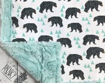 Bear Baby Blanket - Mint Geo Bear - Designer Minky - Sea Glass