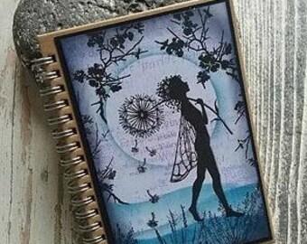 Magical fairy notebook ,fairy journal,faerie notebook,faerie journal, magical notebook,lined notebook, C6 notebook, Blue  fairy