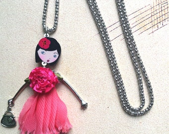 Pink French Doll Necklace Teen Girl Gifts Best Friend Gift for Her Teen Jewelry Gift for Teen Girls Gift for Kids Gift for her Birthday Gift