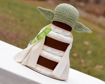 Yoda Diaper Cake - Star Wars Decoration, Gift or Centerpiece - Diaper Cake with Crochet Yoda Hat for Newborn Photo Shoot - Boy Diaper Cake