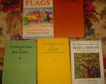 "Five Volumes of ""Observer's Books"" Trees, Flags, Cacti, Furniture, and Sea Fishes"