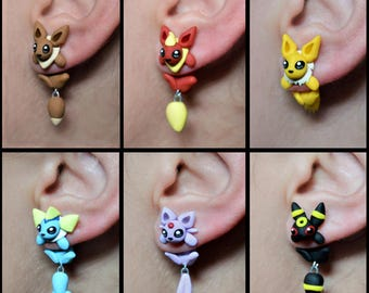 Eeveelutions earrings, inspired in Pokemon. Select 1 single earring or a pair (2 in ''quantity'')