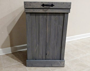 Gray Wash 30 Gallon Rustic Wood Kitchen Trash Can, Trash Bin, Farmhouse  Kitchen Decor