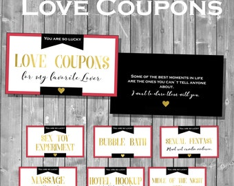 Love Coupon book - Love Coupons - Sexy Coupons - Valentine Gift for him - DIY Printable Coupon Book -  Husband Gift - Valentine Vouchers