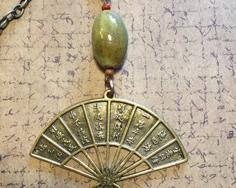 Jade Green and Antiqued Brass Asian Pendant Necklace on Antique Silver Chain