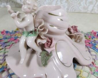 Porcelain Candle Holder Vintage 1950's REINA CALFA Bone China 223 Pink Cherub Candle Holder