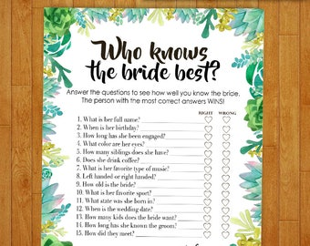 Bridal Shower Game Download - Who Knows the Bride Best - Succulent & Cactus - Instant Printable Digital Download - diy Bridal Shower Print