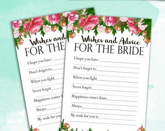 Bridal Shower Game Download - Advice & Wishes for the Bride - Peony Floral Bouquet - Instant Printable Digital Download - diy Printables
