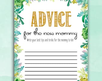 Baby Shower Game Cards - Advice for Mommy - Succulent / Cactus - Instant Printable Digital Download - diy Baby Shower Shower activities girl