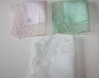 Lovely Lace Trimmed Floral Vintage Hankies: 3-Piece Set
