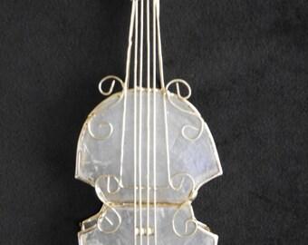 Capiz Shell Violin Christmas Ornament, 3-D Sculpted Wire Tree Trim, Translucent Glass, Gift for Musician, Violin, Viola, Cello