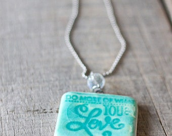 "Essential oil car freshener ""Do more of what you Love"" in Turquoise"