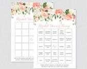 Peach Floral Bridal Shower Bingo Printable - 60 Unique Pre-filled Bingo Cards AND Blank Cards - Peach Green Flower Garden Bridal Bingo 0028