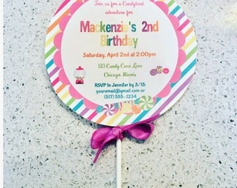 Candyland Lollipop Invite with Envelopes MADE TO SHIP, Candy land Invitation, Candy land Party, Kid Party Invitation, Made to ship