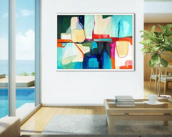 Coastal abstract print large, blue abstract painting print, large abstract canvas art, large abstract art coastal, turquoise, Smooth Ways