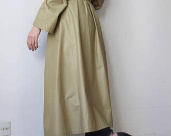 Wax / Vintage Long Trench / masculine-Minimal / wax Green Khaki trench coat / mixed-unisex / classic or oversized / 90's