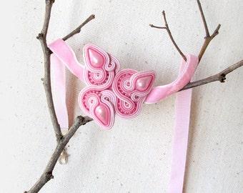 Pink choker Pink necklace Velvet choker Soutache necklace Boho choker necklace Bridesmaid choker Trendy 90s chokers for women Gift for lady