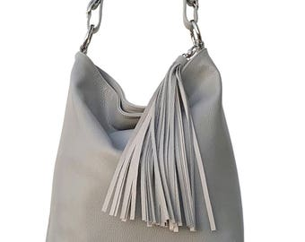 Shoulder Purse Leather. Handcrafted Grey Large Cross Body for Travel Office Free time. Gift for wife anniversary, daughter, aunt Nana. Ganza