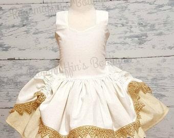 White and gold dress, flower girl dress, bridal dress, fancy girls dress, gold shimmer dress, fancy girls dress, white dress, gold dress