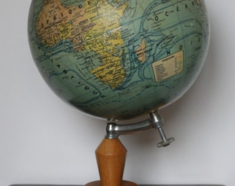 French vintage terrestrial globe (1950's period)