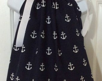 Navy Anchors Pillowcase Dress Size 6m